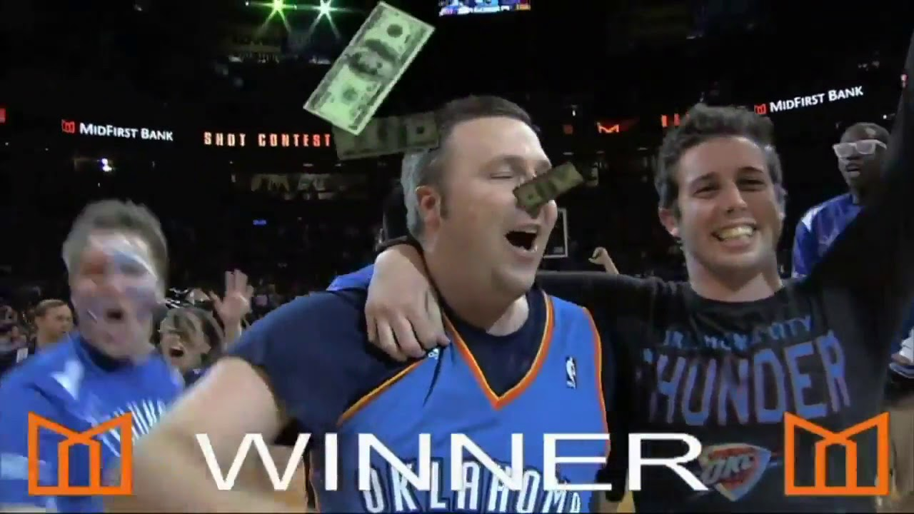 OKC Thunder Fan Makes Halfcourt Shot Wins 20000 To Battle Wifes Cancer 2013 03 06