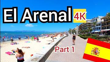 ⁴ᴷ EL ARENAL walking tour, shops, bars and beach, Mallorca 🇪🇸 Spain (Majorca) 4K