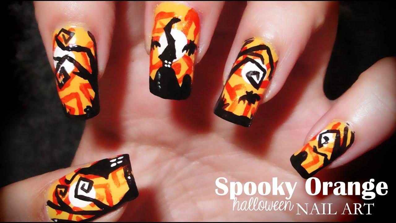 Spooky Orange Halloween Nail art - YouTube