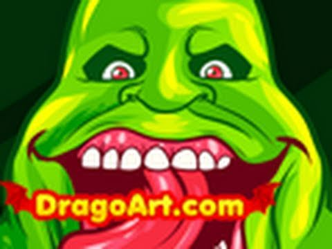 How to Draw Slimer, Slimer, Ghostbusters, Step by Step