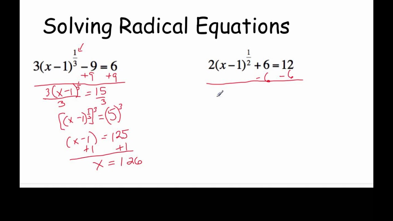 Solving Radical Equations with Fractional Exponents - YouTube