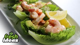 Easy Prawn Recipe With Sweet Crunch Lettuce, Avocado & Chilli Aioli