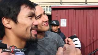 Manny Pacquiao in $250,000 Ferrari leaving the Wild Card! We ask him for a ride!