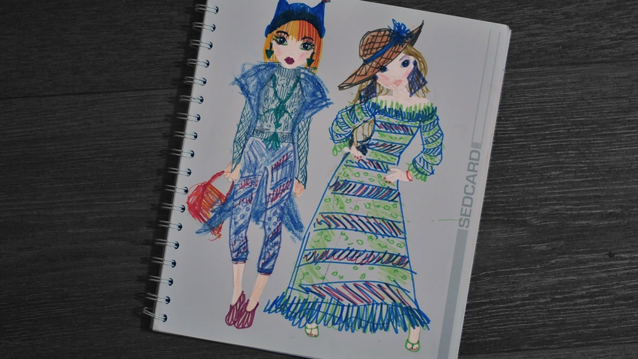 Fashion models with make-up and blue clothes   Mothers drawings ...