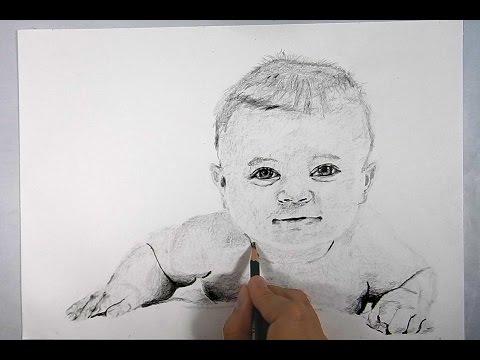 Cmo dibujar un retrato de beb a lpiz  speed drawing  baby