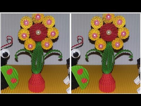 DIY simple flower from corrugated paper /  kokoru paper