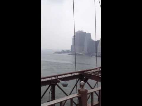 Cold and windy on the majestic Brooklyn Bridge