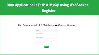 Chat Application in PHP \u0026 MySql using WebSocket - Register