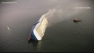 Four crewmen unaccounted for after cargo ship overturns in the St. Simons Sound