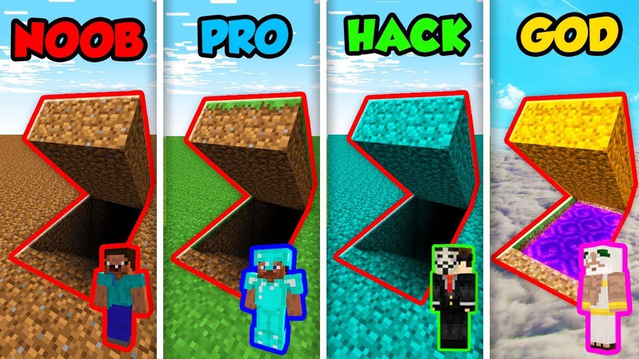 Minecraft Noob Vs Pro Vs Hacker Vs God Secret Dirt
