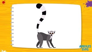 Как Нарисовать Лемура для Детей. Рисунки Своими Руками. Учимся Рисовать животных. Уроки Рисования