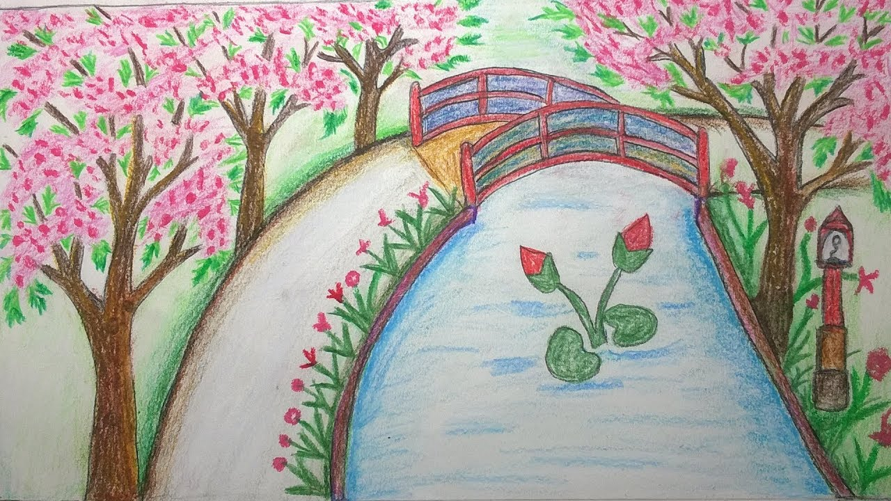 How to draw scenery of park step by step youtube how to draw scenery of park step by step ccuart Images