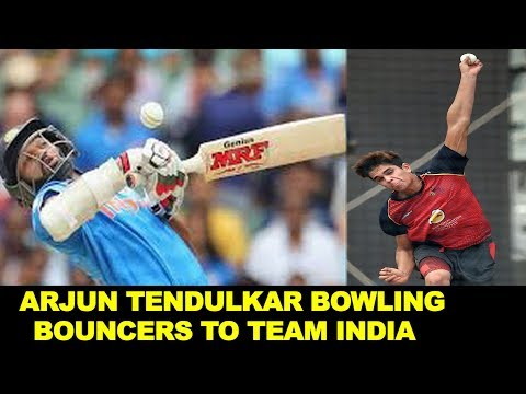 WATCH: Arjun Tendulkar bowling bouncers to Team India, Shikhar Dhawan