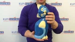 Деревянная статуэтка «Синий кот»