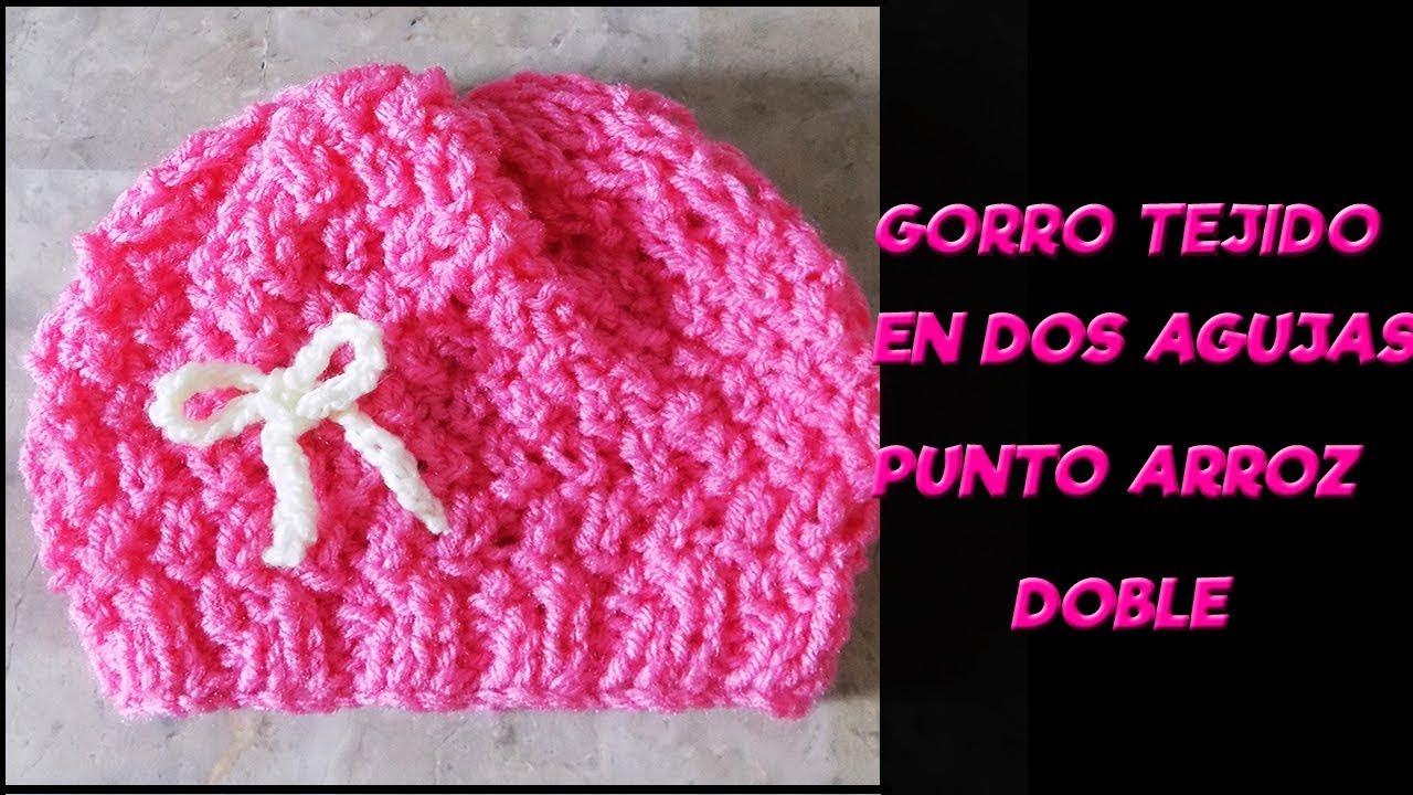 b533d5f829e4 GORRO EN DOS AGUJAS PUNTO ARROZ DOBLE