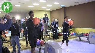 Jesse Lingard wipes out Marcus Rashford at 10 pin bowling