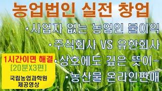 [미래드림-컨설팅] 농업법인 설립 및 실전 창업: 농산…