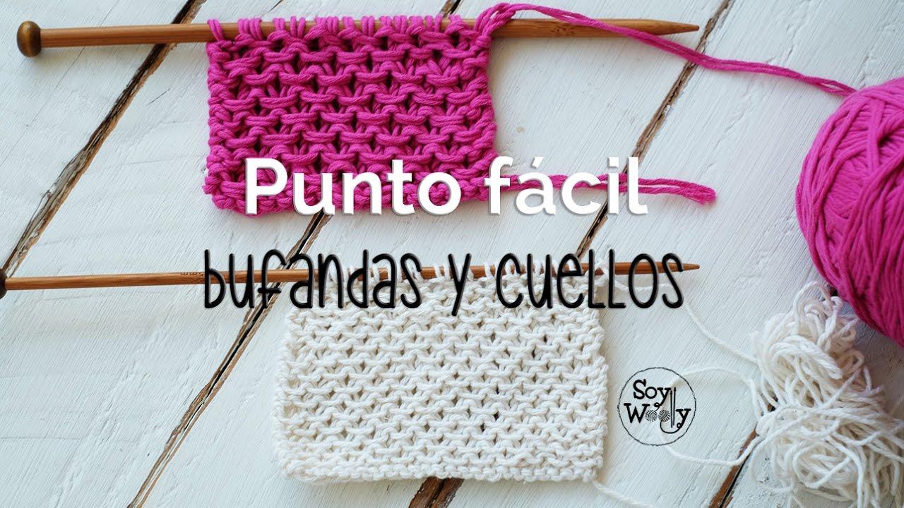 Punto f cil para tejer bufandas y cuellos dos agujas - Como hacer punto de lana para principiantes ...