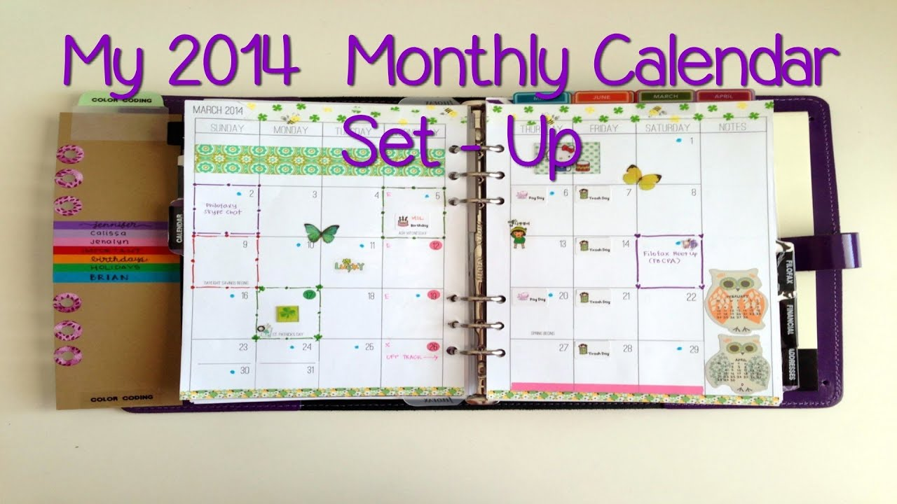 My 2014 Monthly Calendar Set Up in my Filofax - YouTube