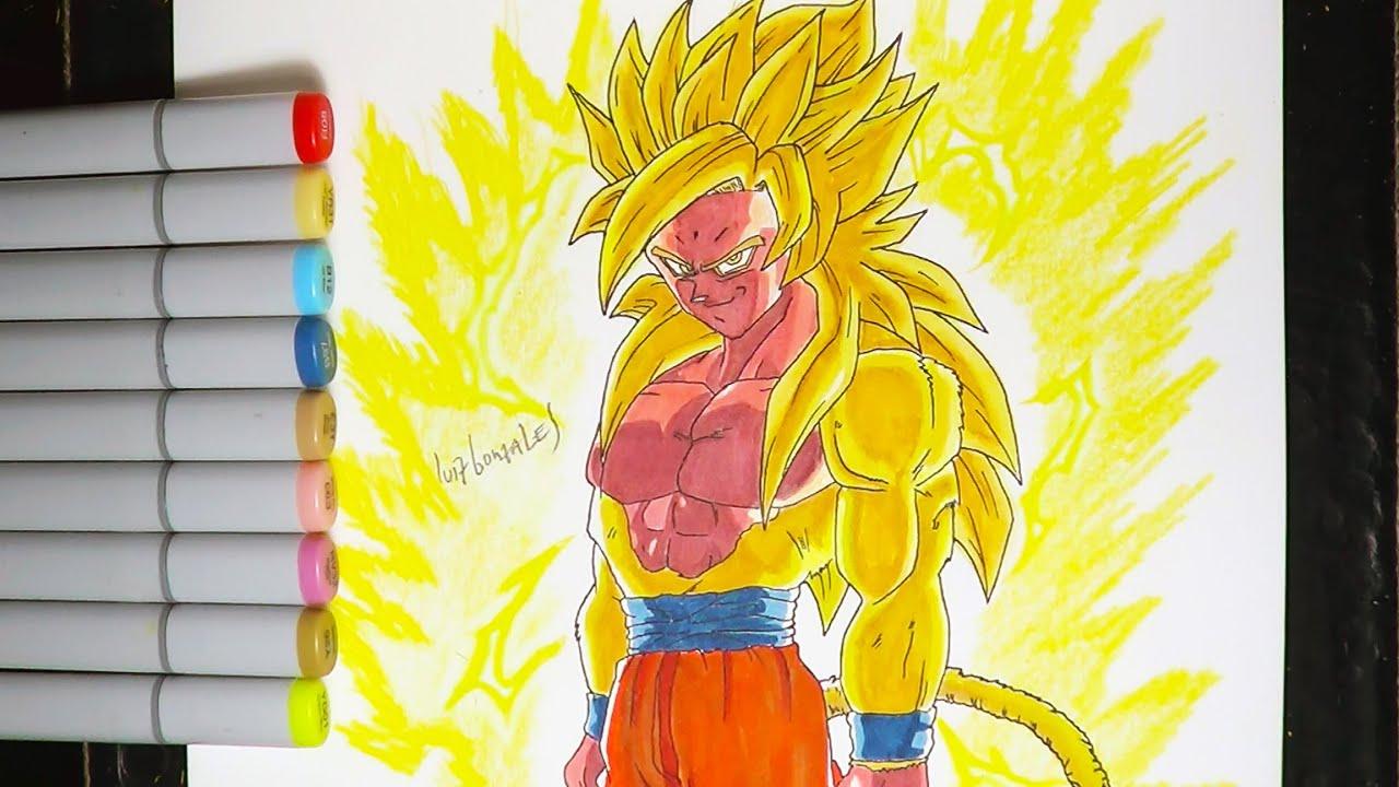 DIBUJANDO A LEGENDARIO GOKU SSJ DIOS DORADO  DB SUPER  Drawing