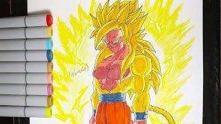 DIBUJANDO A LEGENDARIO GOKU SSJ DIOS DORADO - DB SUPER - Drawing Speed Goku ssj GOD GOLDEN