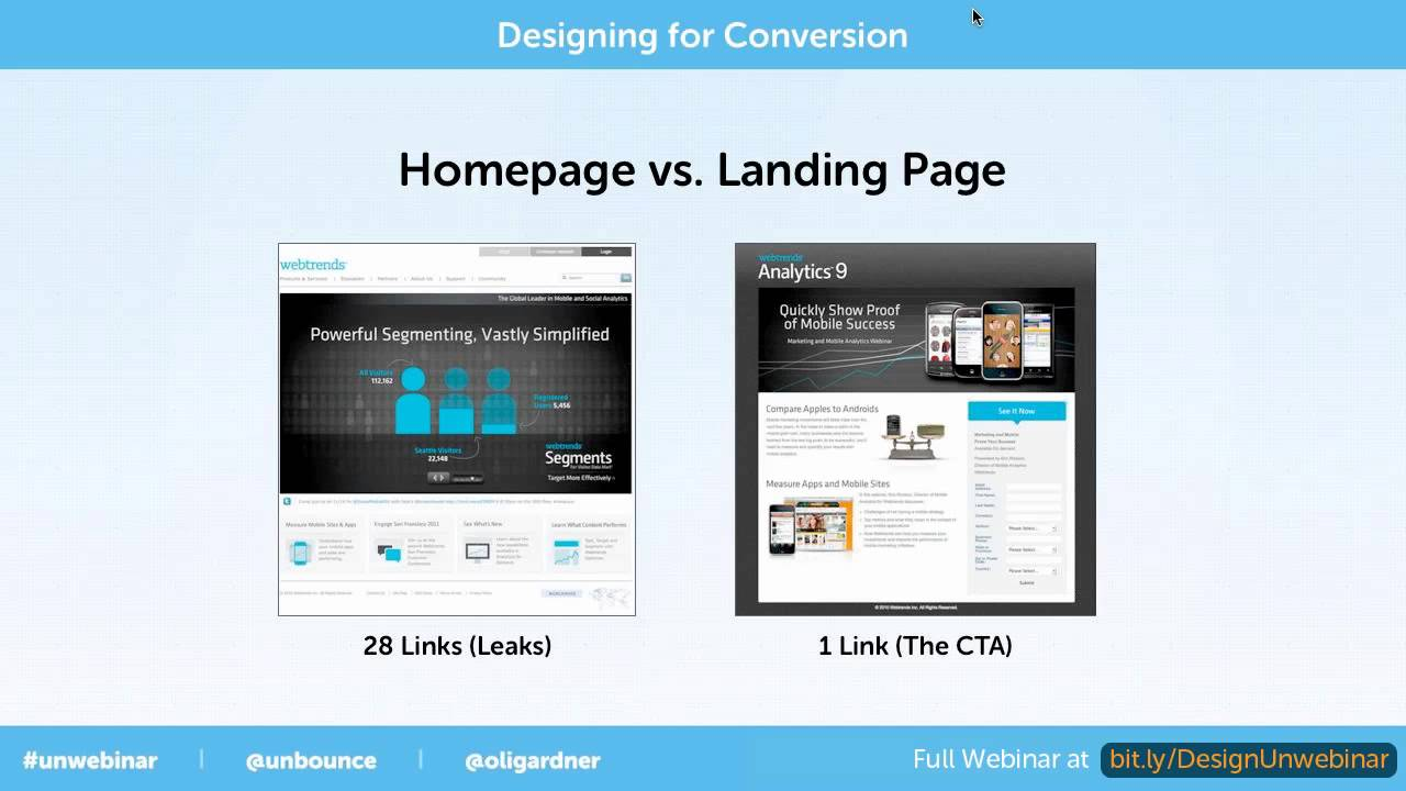 Homepage vs landing page youtube for House pictures website