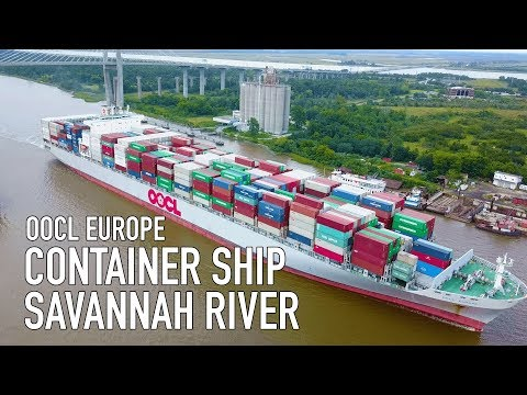 Container Ship in Savannah River From Drone - OOCL Europe