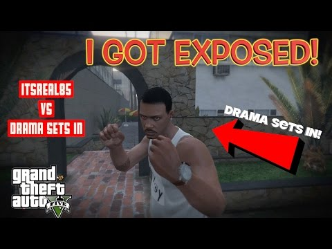 ITSREAL85 GETS EXPOSED BY DRAMA  SETS IN! ( GTA 5 DEATHMATCH & RACE)