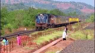 TEJAS EXPRESS at FULL SPEED : 120 KMPH : KONKAN RAILWAY : Tejas Express with Pune WDM3A Twins