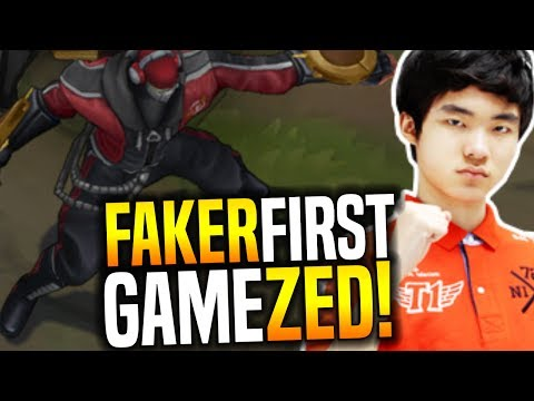 Faker First Professional Game Playing Zed! - The Zed God First Competitive Game!   SKT T1 Faker