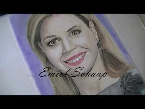 Koningin Maxima Portret Drawing Tutorial Step by Step (Queen Netherlands) | Emiel Schaap