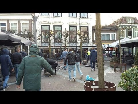 Heracles FC - Utrecht hooligans clash in center of Almelo