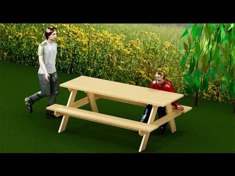 Como hacer una mesa de picnic o jard n para exterior youtube for Mesas para jardin