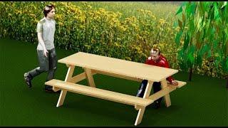 Como hacer una mesa de picnic o jardín para exterior