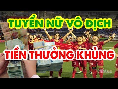 Đội tuyển bóng đá nữ nhận mưa tiền sau khi giành huy chương vàng