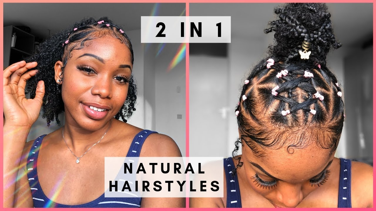 2 Braided Rubber Band Hairstyle Ideas On Natural Hair Youtube