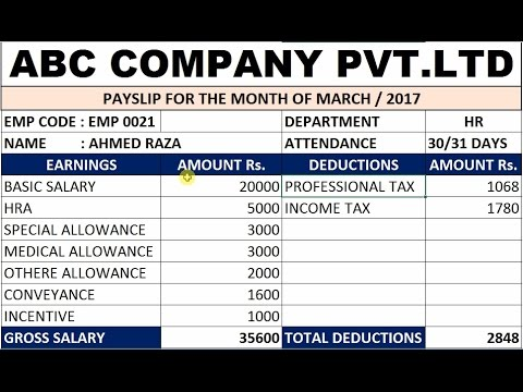 How To Make Salary Pay Slip In MS Excel # 37 - YouTube