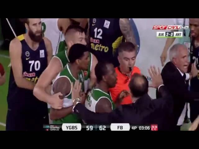 Veselynin faulü kavga çıkardı Fenerbahçe Yeşilgiresun Belediyespor Maci