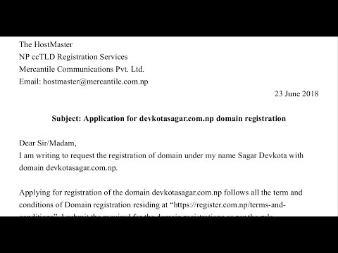 how to generate cover letter for np domain registration youtube