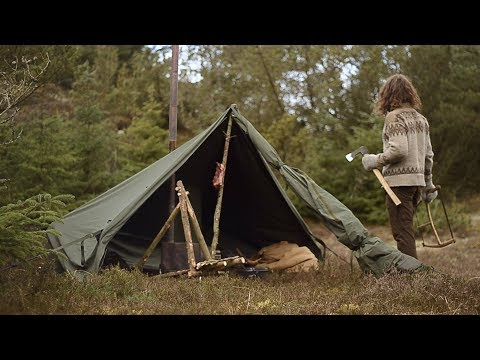 BUSHCRAFT TRIP - CANVAS TENT, WOOD STOVE, CHAIR MAKING, HOMEMADE TOOLS etc.
