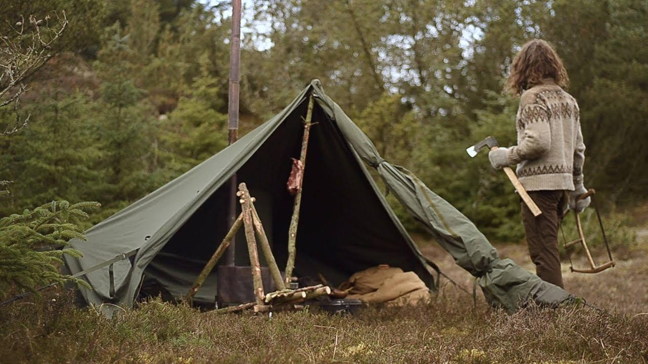 Bushcraft Trip Canvas Tent Wood Stove Chair Making
