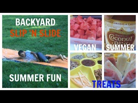 VLOG #6: VEGAN SUMMER JUNK FOOD TREATS + BACKYARD SLIP 'N SLIDE FUN!