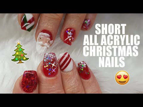 Acrylic Nails - Short Nails - Christmas Nails - Colour Block - 3D Hand sculpted Santa - Not Polish - 동영상