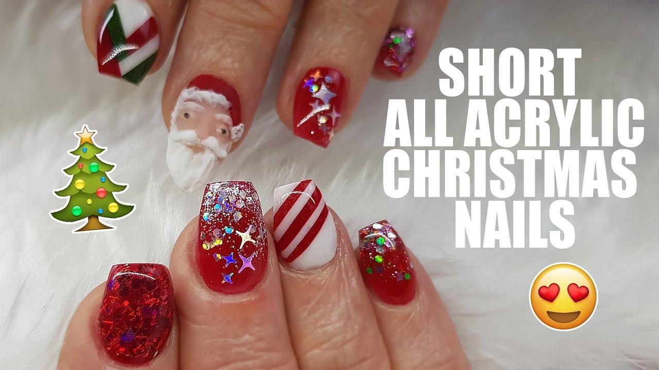 acrylic nails short christmas