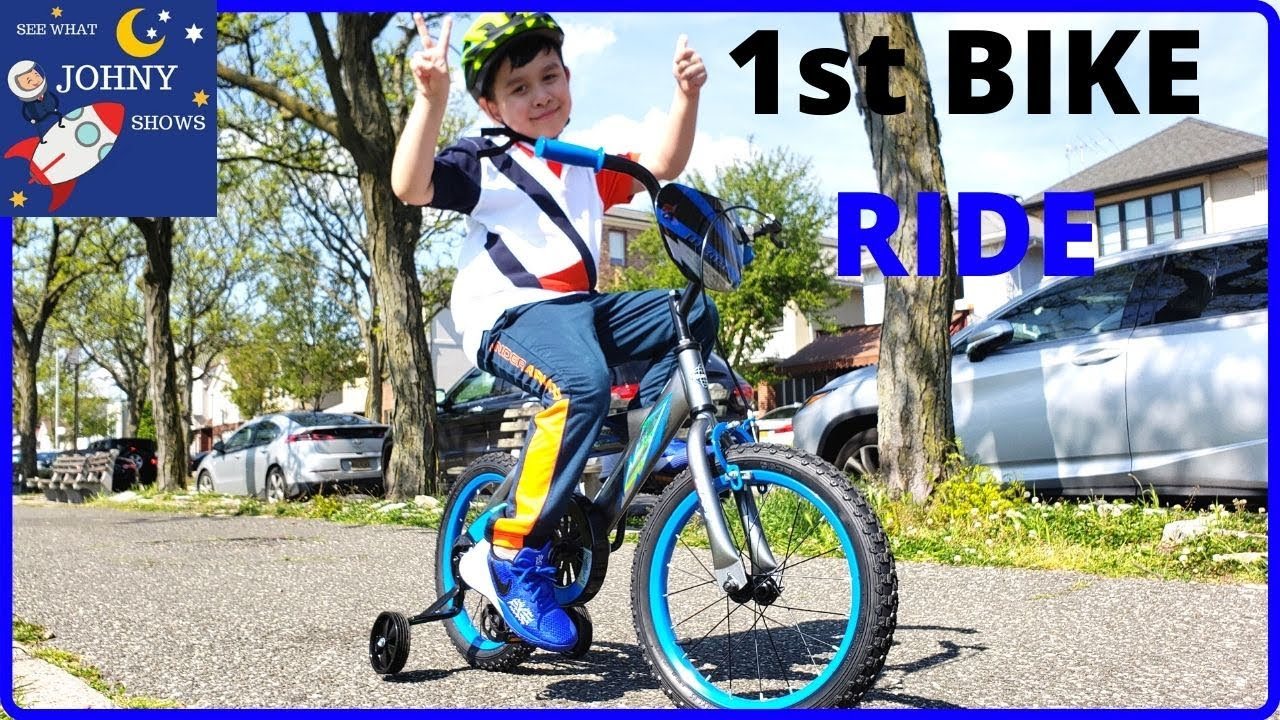 Johny Shows Learning How To Ride A Bike For Kids First Bike Ride
