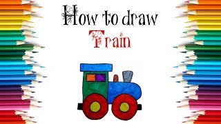 How to draw a toy Train step by step
