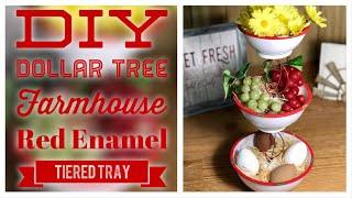 DIY Dollar Tree Farmhouse Red Enamel 3 Tiered Tray - Farmhouse Rustic Decor