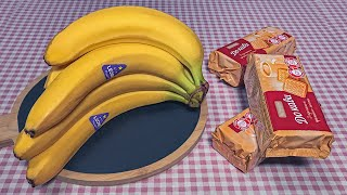 10 минут и готово Банановый торт без выпечки из печенья No bake cake recipe