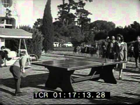 Newlyweds Mickey Rooney & Ava Gardner play ping pong 1942!