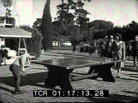 Newlyweds Mickey Rooney & Ava Gardner play ping pong 1942!